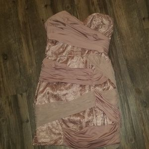 strapless blush pink mini dress